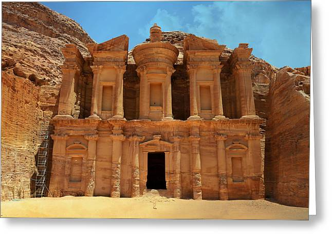 Caves Greeting Cards - The Monastery at Petra Greeting Card by Stephen Stookey