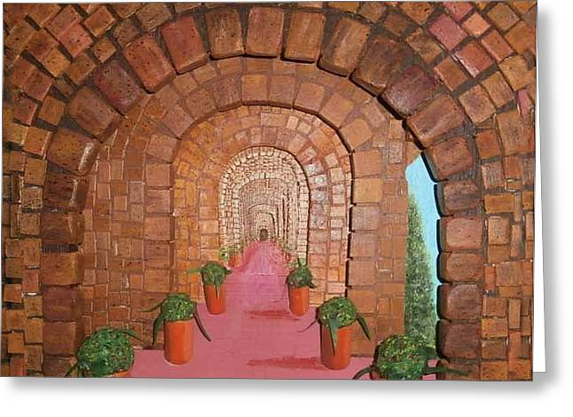 3d. Reliefs Greeting Cards - The Monastery Greeting Card by Gordon Wendling