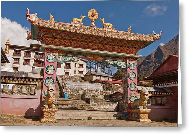 Mt Everest Base Camp Greeting Cards - The Monastery in the Heavens Greeting Card by Kristin Lau