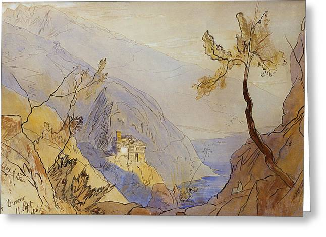 Mountain Valley Drawings Greeting Cards - The Monastery of St Dionysius Mount Athos Greeting Card by Edward Lear