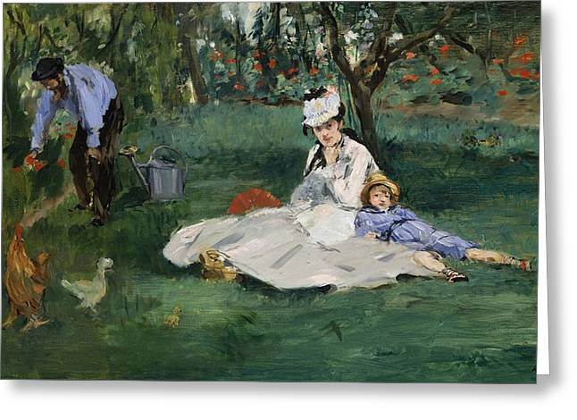 New York The Metropolitan Museum Of Art Greeting Cards - The Monet Family in Their Garden at Argenteuil Greeting Card by Edouard Manet
