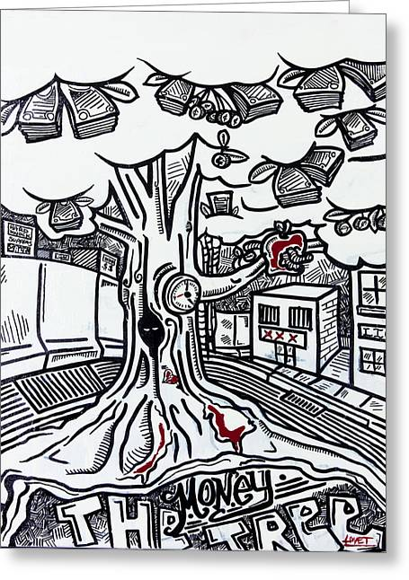 Ghetto Drawings Greeting Cards - The Money Tree Greeting Card by Lovet Harris