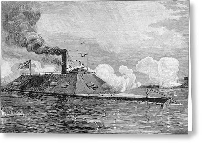 Battle Greeting Cards - The Monitor Weehawken Capturing The Confederate Iron-clad Ram Atlanta Formally The Blockade-runner Greeting Card by Julian Oliver Davidson