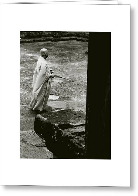 Temple Of Ta Prohm Greeting Cards - The Monk II Greeting Card by Don Saunderson