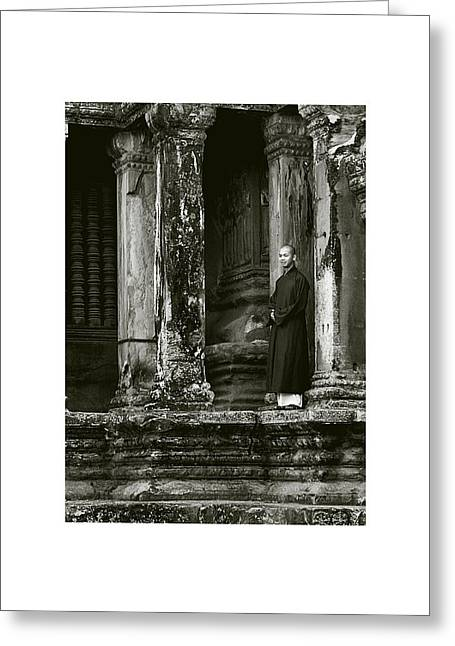 Temple Of Ta Prohm Greeting Cards - The Monk III Greeting Card by Don Saunderson