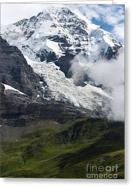 Swiss Photographs Greeting Cards - The Monk - Swiss Bernese Alps Greeting Card by Gary Whitton