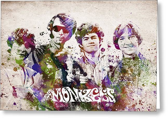 Hard Rock Mixed Media Greeting Cards - The Monkees Greeting Card by Aged Pixel