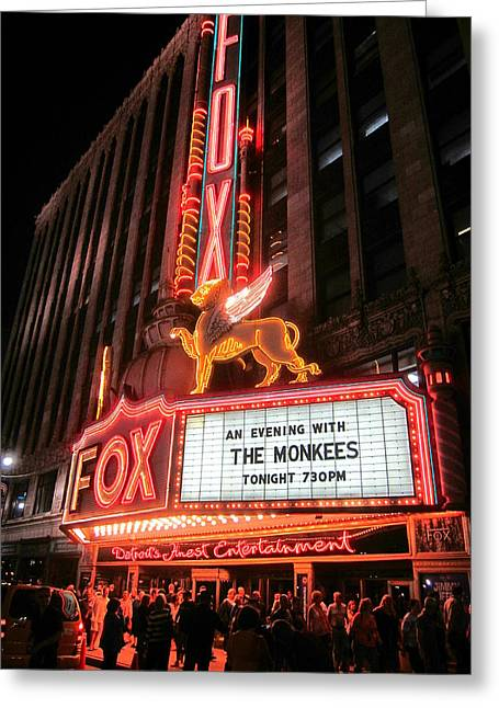 Theater Greeting Cards - The Monkees at The Fox in Detroit Greeting Card by Guy Ricketts