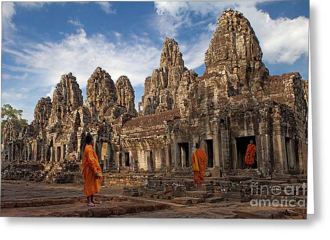 Pete Reynolds Greeting Cards - The monks of Bayon Greeting Card by Pete Reynolds