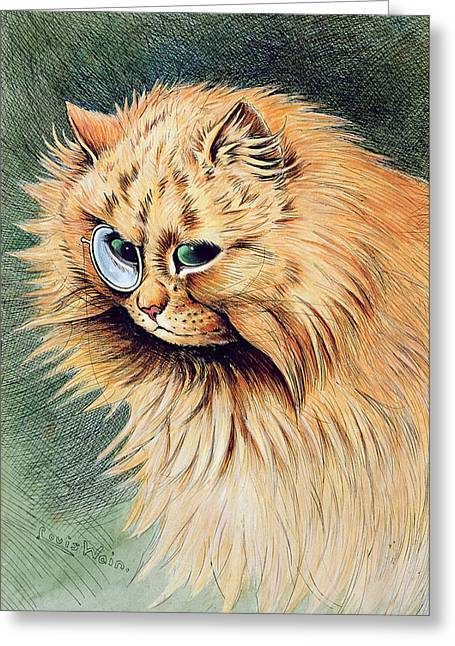 Cat Drawings Greeting Cards - The Monocle Greeting Card by Louis Wain