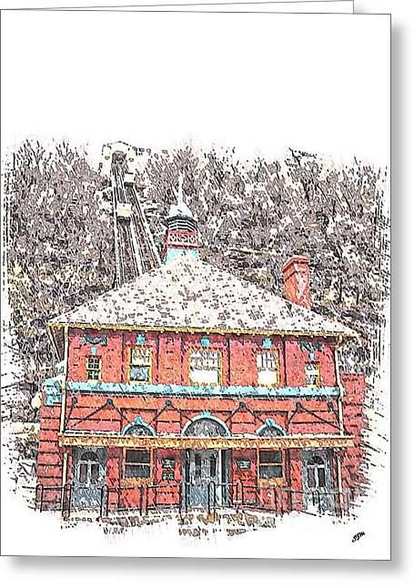 Incline Mixed Media Greeting Cards - The Monongahela Incline Greeting Card by Spencer McKain