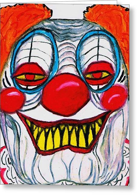 Monster Pastels Greeting Cards - The Monster Clown Greeting Card by Jo-Ann Hayden