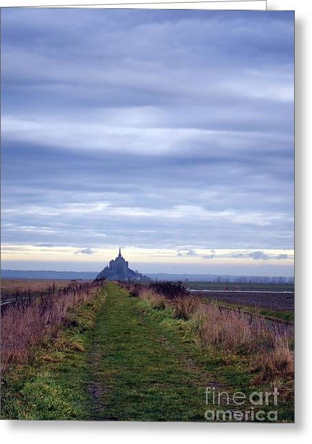 Marsh Path Greeting Cards - The Mont Saint Michel in Normandy France Greeting Card by Olivier Le Queinec