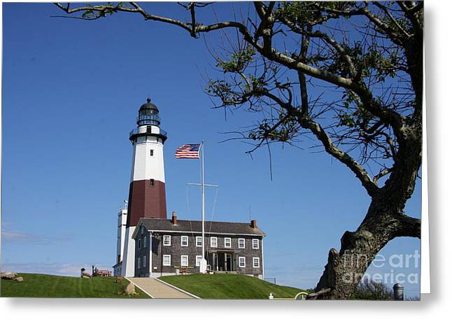 The Montauk Point Lighthouse Greeting Card by Christiane Schulze Art And Photography