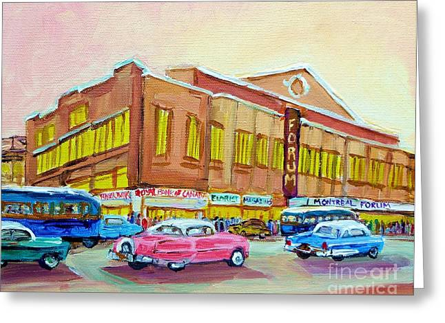 Montreal Winter Scenes Paintings Greeting Cards - The Montreal Forum Greeting Card by Carole Spandau