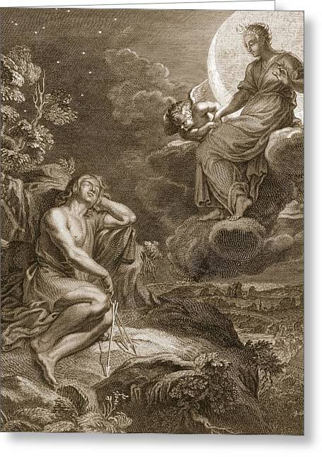 Goddess Drawings Greeting Cards - The Moon And Endymion, 1731 Greeting Card by Bernard Picart