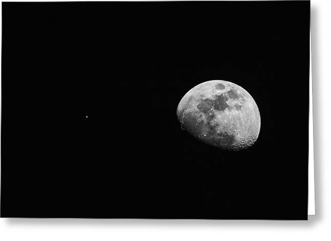 Constellations Greeting Cards - The Moon and Jupiter Greeting Card by Rick Furmanek