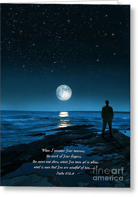 Moon Beach Greeting Cards - The Moon and Stars Greeting Card by Jill Battaglia