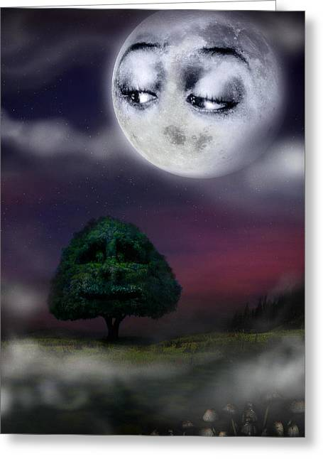 Night Scenes Greeting Cards - The Moon and the Tree Greeting Card by Alessandro Della Pietra