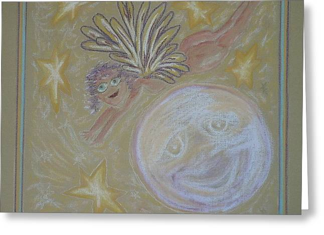 Faith Pastels Greeting Cards - The Moon Angel Greeting Card by Lyn Blore Dufty