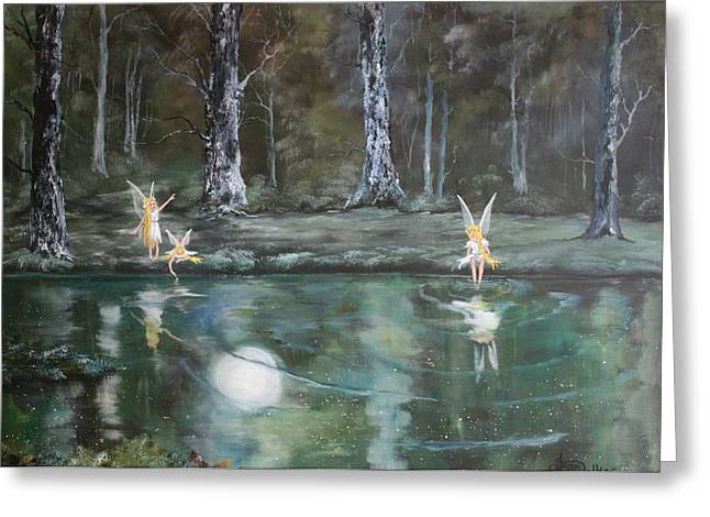 Jean Walker Greeting Cards - The Moon Fairies Greeting Card by Jean Walker
