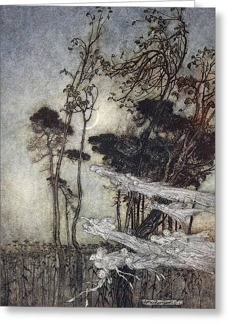 Fairies Drawings Greeting Cards - ..the Moon, Like To A Silver Bow Greeting Card by Arthur Rackham