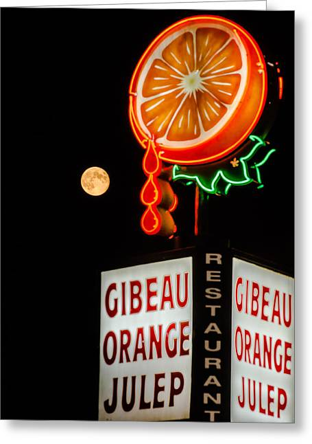 Orange Julep Greeting Cards - The moon loves Orange Julep  Greeting Card by Martin New