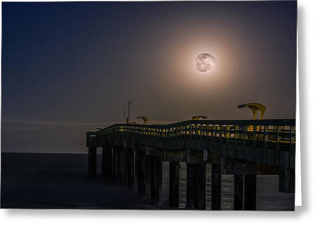 Sea Moon Full Moon Greeting Cards - The Moon Over Saint Augustine Beach Pier Greeting Card by Rob Sellers