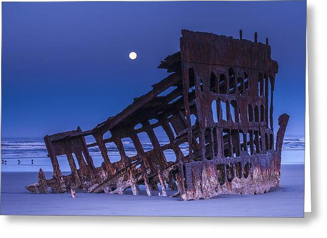 Moon Beach Greeting Cards - The Moon Sets Over The Wreck Greeting Card by Robert L. Potts