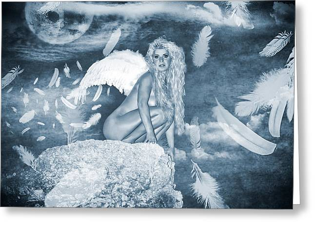 Angel Blues Greeting Cards - The Moonlight of The Angels Greeting Card by Stylianos Kleanthous