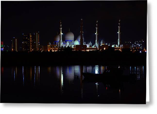 Farah Faizal Greeting Cards - The Moonlit Mosque Greeting Card by Farah Faizal