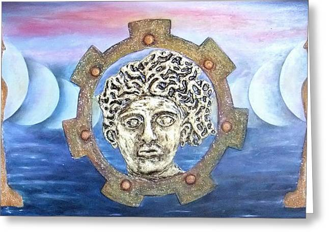 Italian Sunset Reliefs Greeting Cards - The moons of infinite time Greeting Card by Anna Maria Guarnieri