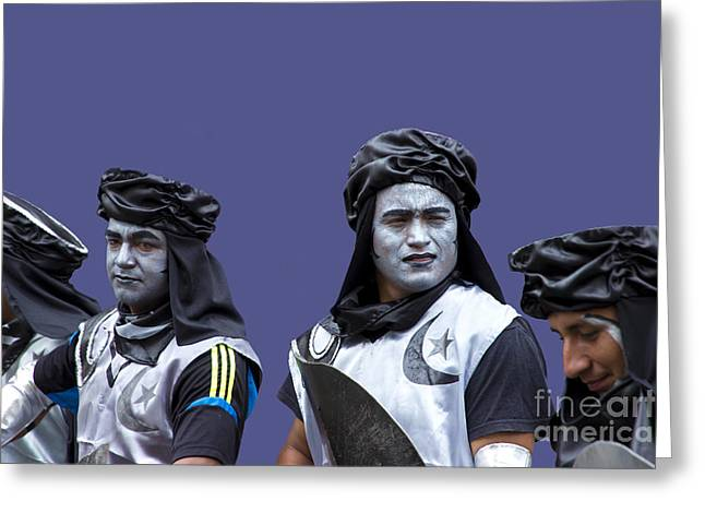Re-enactment Greeting Cards - The Moors Prepare For Battle Greeting Card by Al Bourassa