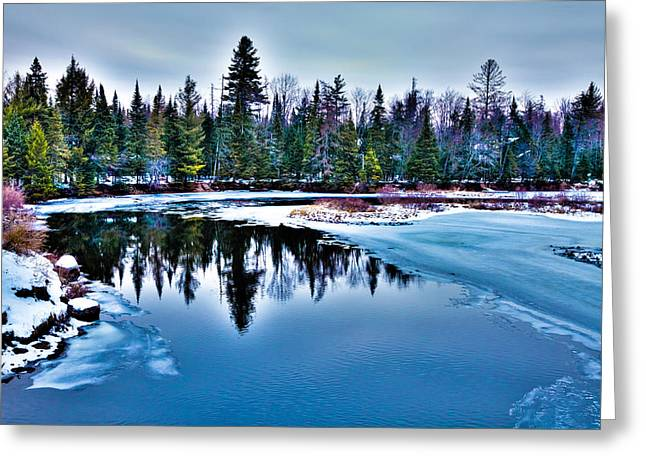 Evergreen Covered In Snow Greeting Cards - The Moose River in November Greeting Card by David Patterson
