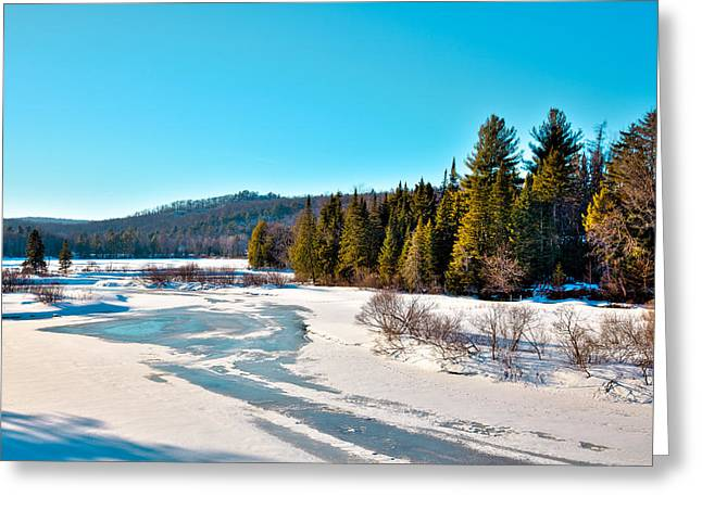 Evergreen Covered In Snow Greeting Cards - The Moose River in Winter Greeting Card by David Patterson