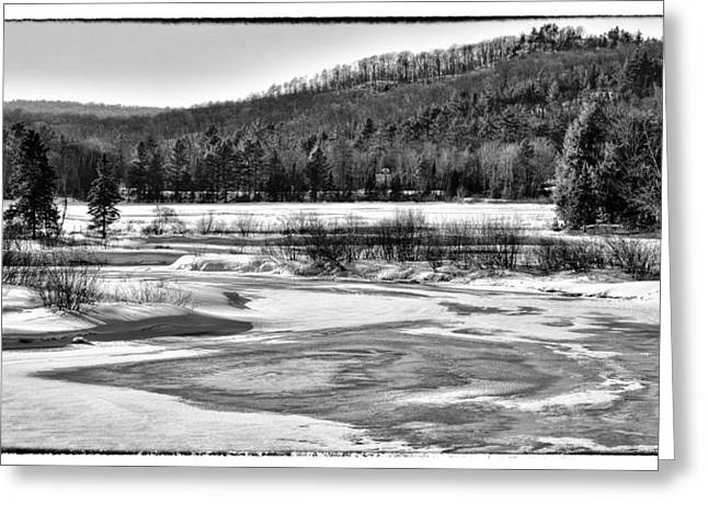 Evergreen Covered In Snow Greeting Cards - The Moose River in Winter - Old Forge New York Greeting Card by David Patterson