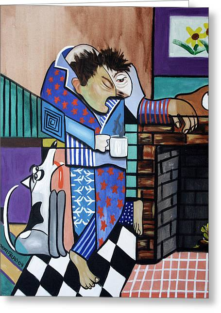 Coffee Drinking Digital Art Greeting Cards - The Morning After Greeting Card by Anthony Falbo