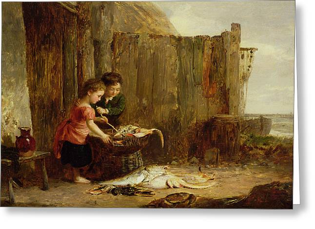 Young Boy Greeting Cards - The Morning Catch, 19th Century Greeting Card by Alexander Jnr. Fraser
