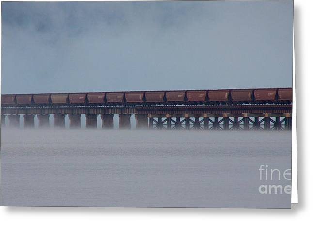 Train On Bridge Greeting Cards - The Morning Crossing Greeting Card by Dana Kern