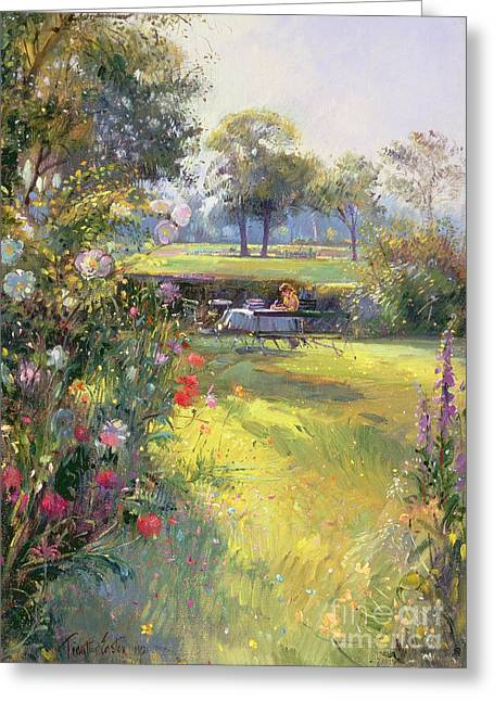 Foxglove Flowers Paintings Greeting Cards - The Morning Letter Greeting Card by Timothy  Easton