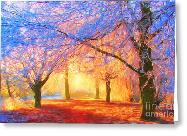 Harmonious Paintings Greeting Cards - The morning light Greeting Card by Veikko Suikkanen