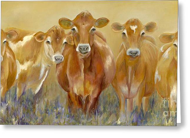 Cow Paintings Greeting Cards - The Morning Moo Greeting Card by Catherine Davis