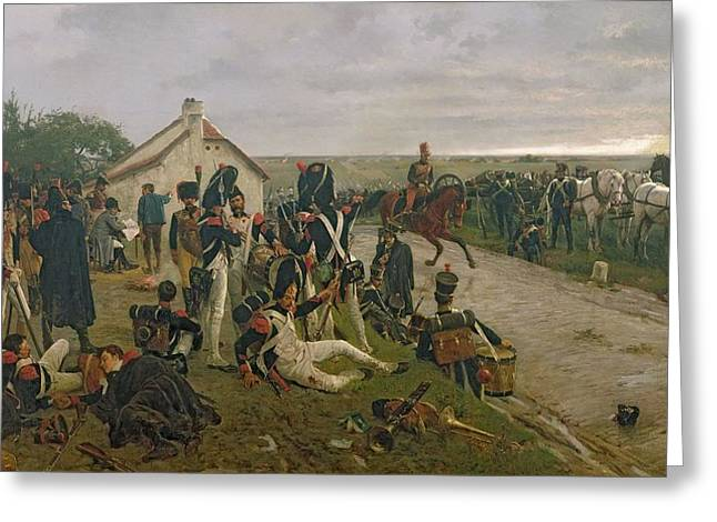 Wounded Greeting Cards - The Morning Of The Battle Of Waterloo Greeting Card by Ernest Crofts