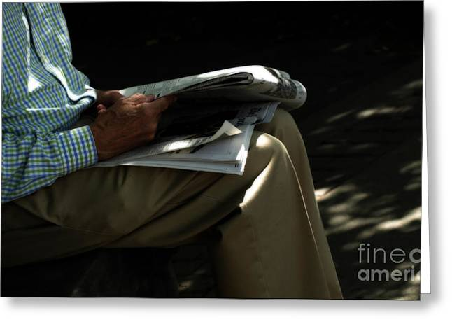 Old Man Reading Greeting Cards - The Morning Paper  Greeting Card by Steven  Digman