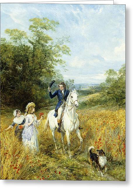Dog Walking Greeting Cards - The Morning Ride Greeting Card by Heywood Hardy