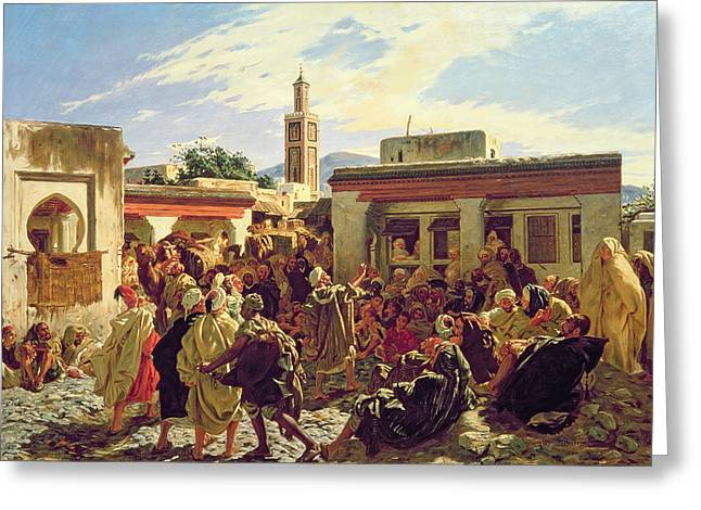 Speeches Greeting Cards - The Moroccan Storyteller Greeting Card by Alfred Dehodencq
