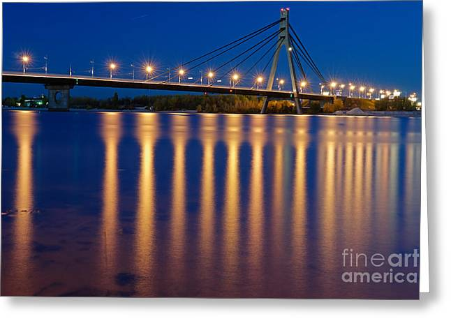 Kyiv Greeting Cards - The Moskovskyi Bridge in Kiev Greeting Card by Igor Baranov
