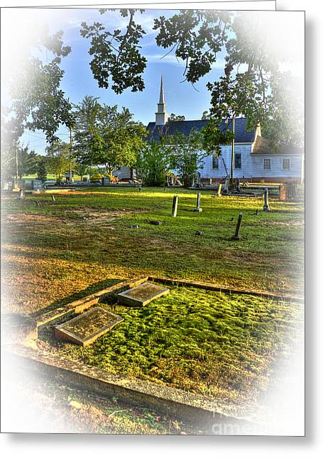 Leach Greeting Cards - The Moss Covered Grave at Walker United Methodist Church Greeting Card by Reid Callaway