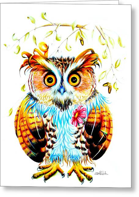 Nocturnal Animal Print Greeting Cards - The most beautiful Owl Greeting Card by Isabel Salvador