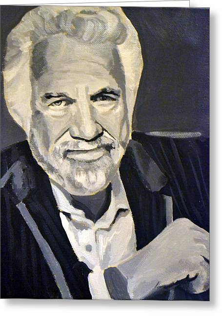 Most Paintings Greeting Cards - The Most Interesting Man Greeting Card by Angela Schwengler